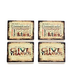 Thirstystone® Give Thanks And Fall Subway Art Coasters