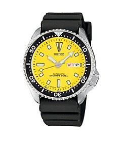 Seiko® Men's Yellow Dial Automatic Divers Watch