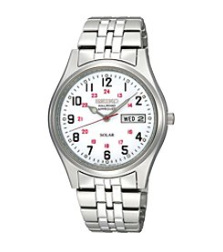 Seiko® Men's Silvertone White Dial Solar RailRoad Watch