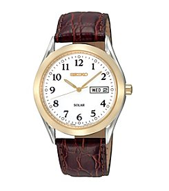 Seiko® Men's White Dial Brown Leather Easy Reader Solar Calendar Watch