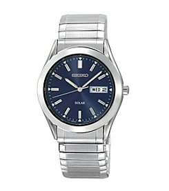 Seiko® Men's Silvertone Blue Dial Solar Watch