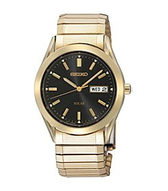 Seiko® Men's Goldtone Solar Black Dial Watch