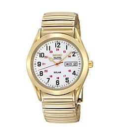 Seiko® Men's Goldtone White Dial Solar RailRoad Watch