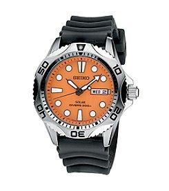 Seiko® Men's Silvertone Solar Black Polyurethane Watch