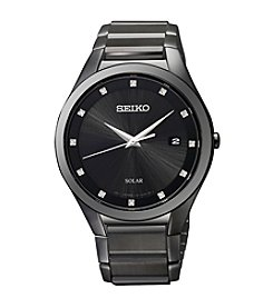 Seiko® Men's Black Solar Dress Watch