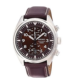 Seiko® Men's Brown Dial Brown Leather Strap Chronograph Watch