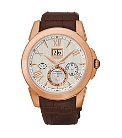 Seiko® Men's LeGrand Sport Rose Goldtone Brown Leather Strap Kinetic Perpetual Watch