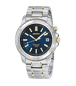 Seiko® Men's Two-Tone Blue Dial Perpetual Calendar Watch