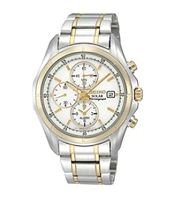Seiko® Men's Two-Tone Solar Alarm Chronograph Bracelet Watch