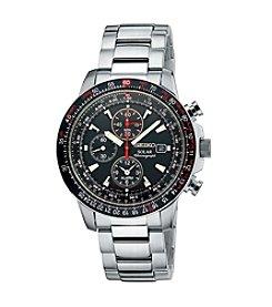Seiko® Men's Silvertone Solar Alarm Chronograph Bracelet Watch