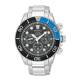 Seiko® Men's Silvertone Solar Chronograph Diver Watch