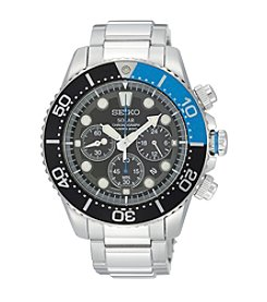 Seiko® Men's Silvertone Solar Chronograph Diver Watch