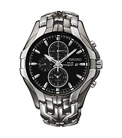 Seiko® Men's Excelsior Black Ion Finish Solar Chronograph Watch