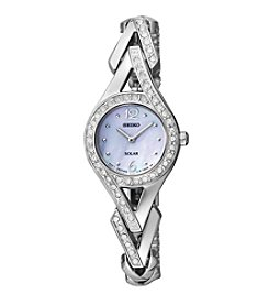 Seiko® Women's Silvertone Crystal Solar Watch