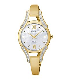 Seiko® Women's Goldtone Crystal Solar Bangle Watch