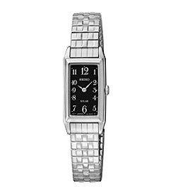 Seiko® Women's Silvertone Black Dial Expansion Watch