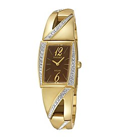 Seiko® Women's Goldtone Crystal Solar Watch
