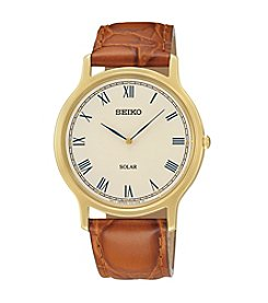 Seiko® Men's Goldtone & Brown Leather Solar Watch