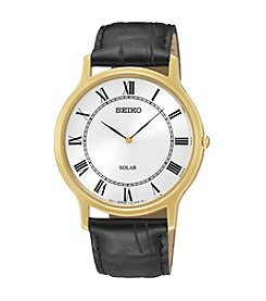 Seiko® Men's Goldtone & Black Leather Solar Watch