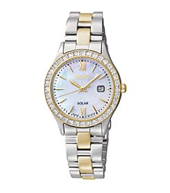 Seiko® Women's Two-Tone Crystal Solar Bracelet Watch