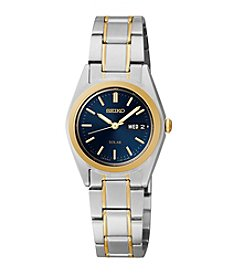 Seiko® Women's Two-Tone Blue Dial Solar Calendar Watch