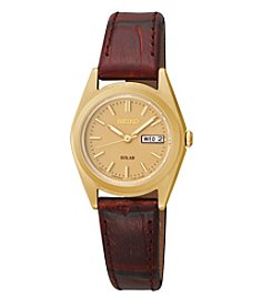 Seiko® Women's Goldtone Brown Leather Strap Watch