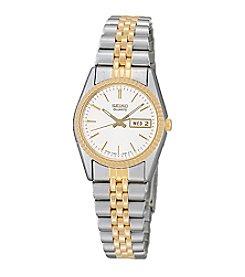 Seiko® Women's Two-Tone White Dial Calendar Watch