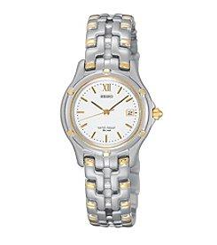 Seiko® Women's Two-Tone White Dial Dress Watch