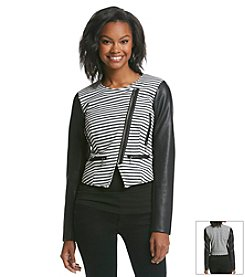 XOXO® Striped Moto Jacket