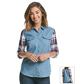 Sequin Hearts® Plaid Chambray Shirt