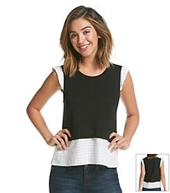 Kensie® Eyelet Trim Top