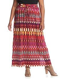 AGB® Plus Size Printed Challis Skirt