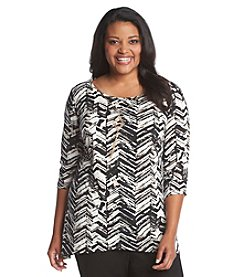 AGB® Plus Size Geometric Print Knit Top