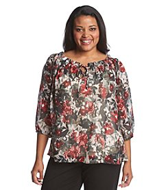 AGB® Plus Size Printed Peasant Top