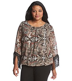 AGB® Plus Size Printed Fringe Top