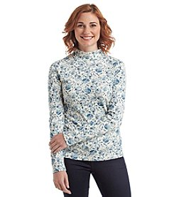 Studio Works® Fern Print Long Sleeve Mock Neck Tee