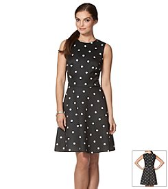 Chaps® Polka-Dot Scuba Dress