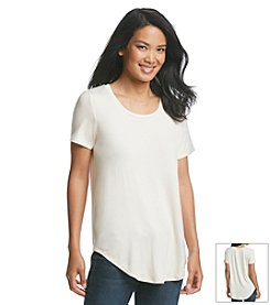Olivia Sky Short Sleeve Round Hem Top