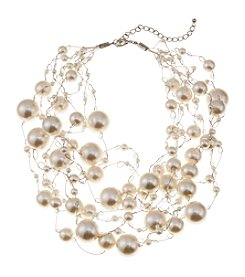 Studio Works® Silvertone Multi Row Simulated Pearl Illusion Necklace