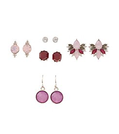 Studio Works® Set Of Five Silvertone Purple Earrings With Acrylic Stone Studs And Drops