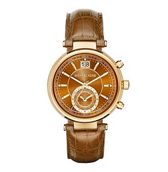 Michael Kors Women's 39mm Goldtone Sawyer Watch with Embossed Amber Croco Leather Strap