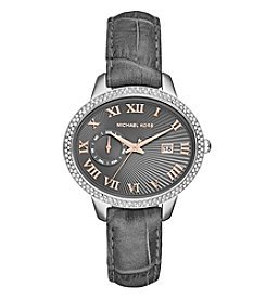 Michael Kors® Women's Silvertone Stainless Steel Whitley Watch With An Embossed Grey Croco Leather Strap