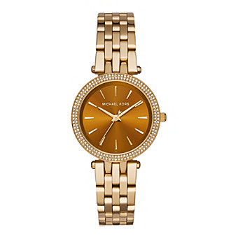 Michael Kors® Women's Goldtone Mini Darci Watch With An Amber Dial