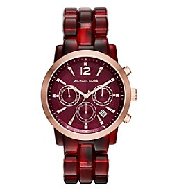 Michael Kors® Women's Goldtone Burgundy Tortoise Audrina Watch