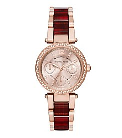 Michael Kors® Women's  Rose Goldtone Mini Parker Watch With Burgundy Tortoise Acetate Center Links
