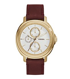 Fossil® Women's Chelsey Watch In Goldtone With Burgundy Leather Strap