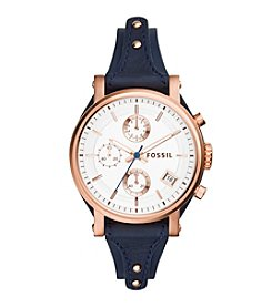 Fossil® Women's Original Boyfriend Watch In Rose Goldtone With Navy Leather Strap