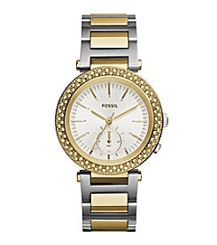 Fossil® Women's Urban Traveler Watch In Two Tone Silvertone/goldtone With Metal Link Bracelet