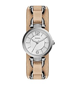 Fossil® Women's Georgia Artisan Watch In Silvertone With Light Brown Leather Strap