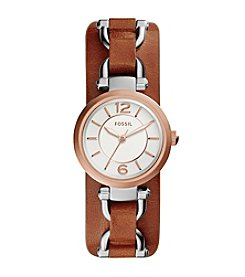 Fossil® Women's Georgia Artisan Watch In Rose Goldtone With Light Brown Leather Strap